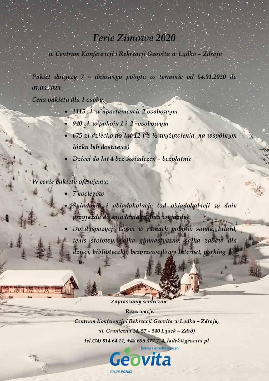 FERIE ZIMOWE 2020 POBYT - 7 DNI PAKIET_01